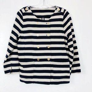 ! J. Crew Merriweather Striped Knit Jacket Navy